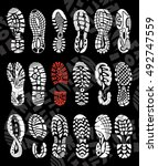 footprint sport shoes big... | Shutterstock .eps vector #492747559