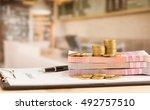 money put on loan application... | Shutterstock . vector #492757510