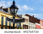street signs and architecture... | Shutterstock . vector #492765724