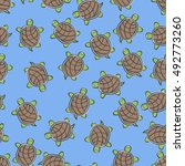 Doodle Turtle Seamless Pattern...
