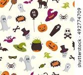cartoon halloween seamless... | Shutterstock .eps vector #492774709
