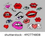 lips fashion modern doodle lips ... | Shutterstock .eps vector #492774808