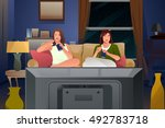 a vector illustration of two... | Shutterstock .eps vector #492783718