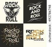 set of four rock music print ... | Shutterstock .eps vector #492786748