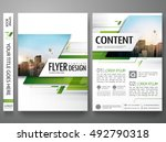 Brochure design template vector. Green abstract square cover book portfolio presentation poster in A4 layout. Flyers report business magazine. | Shutterstock vector #492790318