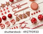 christmas decoration on wooden...   Shutterstock . vector #492793933