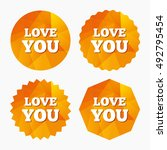 love you sign icon. valentines... | Shutterstock .eps vector #492795454