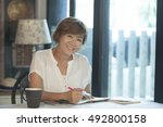 asian woman smiling face ... | Shutterstock . vector #492800158