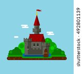 castle flat landscape | Shutterstock .eps vector #492801139