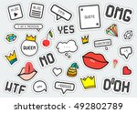 patch fashion collection.... | Shutterstock .eps vector #492802789