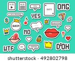 patch fashion collection.... | Shutterstock .eps vector #492802798