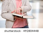 young student reading book in...   Shutterstock . vector #492804448