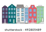 row of color houses  vector...   Shutterstock .eps vector #492805489