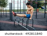 sportsman at crossfit ground... | Shutterstock . vector #492811840