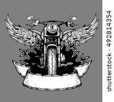 vintage biker vector label ... | Shutterstock .eps vector #492814354