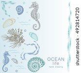 ocean life set with fish ... | Shutterstock .eps vector #492814720