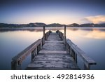 Wooden Pier Or Jetty On Blue...