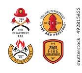 firefighter emblems and fire... | Shutterstock .eps vector #492815623
