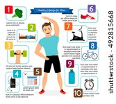 healthy lifestyle for man... | Shutterstock .eps vector #492815668