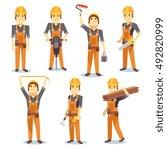 construction engineering... | Shutterstock .eps vector #492820999