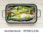 Two Trout Fishes Seasoned And...