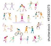 set sport people activities...   Shutterstock . vector #492822073