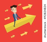 happy cheerful businessman... | Shutterstock .eps vector #492824824