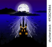 halloween night background | Shutterstock .eps vector #492824866