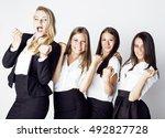 lot of businesswomen happy... | Shutterstock . vector #492827728