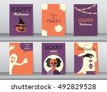 halloween posters set. vector... | Shutterstock .eps vector #492829528