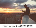 young brave man sitting on the... | Shutterstock . vector #492829720