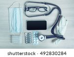 medical equipment with copy... | Shutterstock . vector #492830284