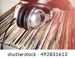 party dj turntable   vinyl... | Shutterstock . vector #492831613