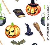 halloween seamless pattern with ...   Shutterstock . vector #492832684