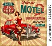 motel route 66 vintage poster | Shutterstock .eps vector #492833590
