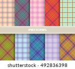 set of checkered linear... | Shutterstock .eps vector #492836398