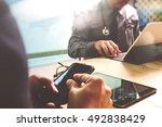 medical technology network team ... | Shutterstock . vector #492838429
