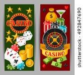 casino gambling banners or... | Shutterstock .eps vector #492847690