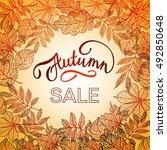 golden autumn leaves  sale ... | Shutterstock .eps vector #492850648