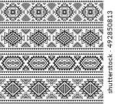 ethnic seamless monochrome...   Shutterstock .eps vector #492850813