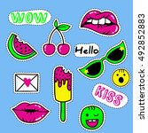 fashion patch badges with lips  ... | Shutterstock .eps vector #492852883