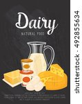 natural food banner with dairy... | Shutterstock .eps vector #492855634