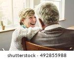 husband wife senior pensioner... | Shutterstock . vector #492855988