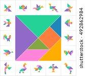 tangram set  cards  cut   play. ...   Shutterstock .eps vector #492862984