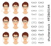 woman glasses shapes for... | Shutterstock .eps vector #492865144