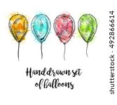 hand drawn set of balloons with ... | Shutterstock .eps vector #492866614