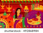 vector illustration of indian... | Shutterstock .eps vector #492868984