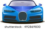 vector sports blue car front... | Shutterstock .eps vector #492869830
