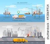 oil industry banner production... | Shutterstock .eps vector #492869914