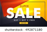 colorful sale banner template... | Shutterstock .eps vector #492871180